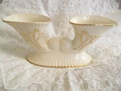Vintage ivory with 22k gold accents Double by KimCycleDesigns, $13.00