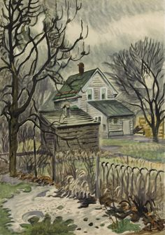 Charles Burchfield (American, 1893-1967), Lowering Day in January, 1947. Watercolor on joined paper mounted on board, 40 x 28 in.