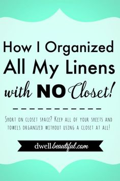 Short on closet space? Keep all of you towels, sheets, and linens organized without using a closet at all! Use this idea to keep it all under control!