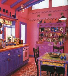 49 Inspiring Colorful Boho Chic Kitchen Designs: 49 Inspiring Colorful Boho Chic Kitchen Designs With Purple And Pink Kitchen Wall And Wooden Kitchen Island And Wooden Dining Table Design Purple Kitchen, Kitchen Colors, Kitchen Decor, Kitchen Ideas, Funky Kitchen, Kitchen Tables, Kitchen Paint, Kitchen Cabinets, Country Kitchen