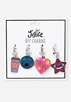 This 4 Piece BFF Emoji Charm Set is a great gift for three of your besties and theres one for you too. Justice Accessories, Girls Accessories, Bff Necklaces, Bff Bracelets, Girls Clothing Stores, Tween Clothing, Justice Clothing, 10 Year Old Gifts, Charm Bracelets For Girls