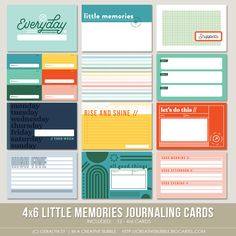 This set of twelve digital journaling cards is perfect for pocket page protectors, scrapbooking and mini-books. Project Life Scrapbook, Project Life Album, Planner Pages, Food Planner, Planner Stickers, Bullet Journal Banner, Page Protectors, Digital Stamps, Digital Papers