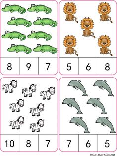 Animals Count and Clip Cards (Numbers by Sue's Study Room Counting Activities, Preschool Learning Activities, Teaching Math, Preschool Activities, Kids Learning, Learning Numbers, Math Numbers, Math Gs, Montessori Math
