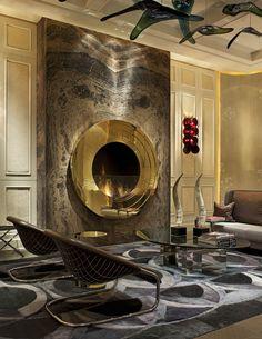 circular gold fireplace