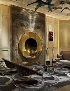 circular gold fireplace