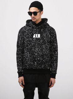 XQUARE 11 Logo Snow Splatter Printed Hoodie $50.00 #Fashion #Street #Style…