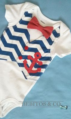 Bebitos & Co. Baby boy Nautical Anchor vest bodysuit with Bow tie perfect for First Birthday.  *The bodysuit features 100% cotton designer fabric the