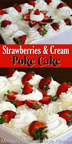 The heavenly match-up of strawberries and cream shines in this stunning poke cake #strawberriesandcream #strawberrypokecake #strawberries #pokecakes #sheetcakes #strawberrycake #cakerecipes #desserts #dessertfoodrecipes #holidaybaking #southernfood #southernrecipes Strawberry Poke Cakes, Strawberry Desserts, Fun Desserts, Delicious Desserts, Dessert Recipes, Classic Desserts, Strawberry Cheesecake, Baking Recipes, Cookie Recipes
