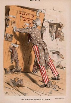 """A cartoon shows Uncle Sam trying to keep Chinese immigrants out using the Chinese Exclusion Act of Some Oregon convention delegates tried to add """"Chinamen"""" to the vote on excluding negroes and mulattoes in (Image courtesy Library of Congress) Cartoon Shows, A Cartoon, Us History, American History, Yellow Peril, 5th Grade Social Studies, Chinese American, American Presidents, Political Cartoons"""
