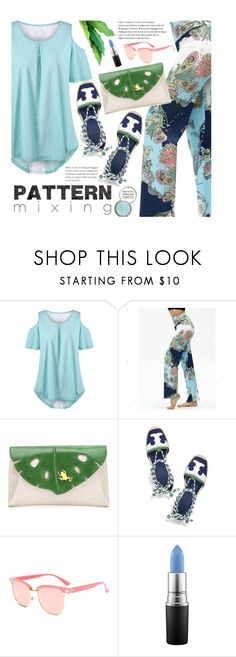 """""""Tropical Vacation: Pattern Mixing"""" by beebeely-look ❤ liked on Polyvore featuring Charlotte Olympia, Tory Burch, MAC Cosmetics, Obsessive Compulsive Cosmetics, Summer, vacation, patternmixing, islandgetaway and twinkledeals"""