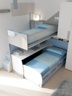 Kids Bedroom Furniture, Smart Furniture, Furniture Design, Bedroom Decor, Red Living Room Decor, Shared Boys Rooms, Beds For Small Rooms, Loft Bunk Beds, Small Bedroom Designs