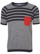 yoke stripe knitted t-shirt. #men #t-shirt