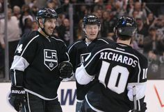 Dwight King #74 Tyler Toffoli #73 and Mike Richards #19 Los Angeles Kings