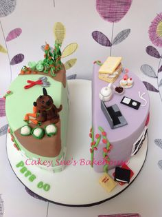 Split birthday cake Birthday Cake For Mum, Twin Birthday Cakes, Dad Birthday, Shared Birthday Parties, Hippie Cake, Lily Cake, Twins Cake, 21st Cake, Travel Cake