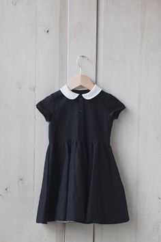 Little Black Linen Dress, White Collar, Kids Fashion, Hand Made Children…