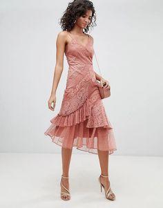 ASOS DESIGN Mix & Match Lace & Dobby Cami Dress | ASOS Lace Top Outfits, Dress Outfits, Dress Clothes, Casual Clothes, Dress Casual, Chic Outfits, Girl Outfits, Asos, Mix Match
