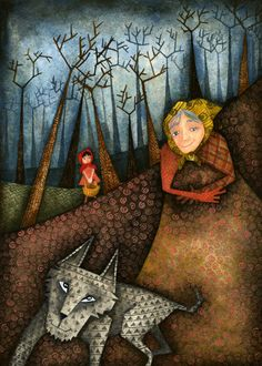 Niki Leonidou...Little Red Riding Hood illustration... see how the hills and trees show distance..hmmmm,