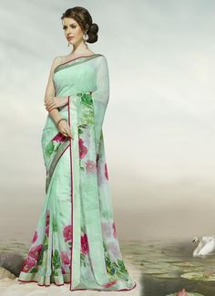 YellowFashion.in — Pearl green & pink color georgette kitty party sarees : niroma collection yf-46513   Kitty party sarees