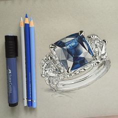 Sapphire Ring in pen and pencil. @officialfaberge #art #illustration #pen…
