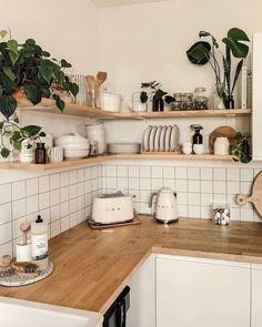 Home Decor Kitchen, Kitchen Interior, Home Kitchens, Room Kitchen, Kitchen Cook, Interior Plants, Bohemian Kitchen Decor, Smeg Kitchen, Korean Kitchen
