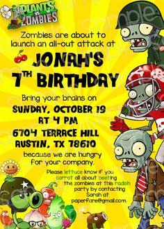 Plants vs Zombies Printables for Birthday Party by ThePaperPleaser Zombie Birthday Parties, Zombie Party, Birthday Party Themes, Boy Birthday, Birthday Ideas, Plants Vs Zombies, Zombies Vs, Bowling Party Invitations, Free Printable Birthday Invitations