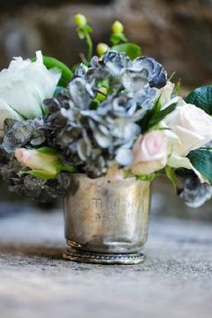 silver baby cup with flowers