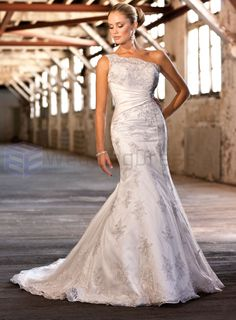 Lace over Dolce Satin Mermaid Asymmetrical One Shoulder Strap Neckline Wedding Dress, this is the one i want!