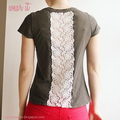 DIY Clothes DIY Refashion DIY T-Shirt Fashion: DIY vintage lace inset t-shirt