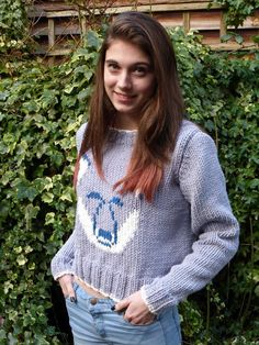This is a detailed written knitting pattern in pdf format for a wolf themed sweater, suitable for teens and ladies. Designed by myself, the written pattern also includes a chart and photos. The sweater is knit flat on two needles and seamed. The sweater in the photos is made up in the first size and is modelled by a slim 16 year old. Suggested yarns: 100% cotton or a cotton/acrylic mix chunky/bulky yarn. I used Rowan All Seasons Chunky, 60% cotton, 40% acrylic (approx 93yds/85m...