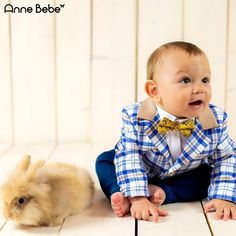 Plaid Suit For Baby Boy 0 - 9 Months, with a very cute yellow bowtie.Perfect For Baby's First Easter Sunday! AnneBebe Brand - Made In Romania Plaid Suit, Romania, Baby Boy, Sunday, Yellow, Boys, Baby Boys, Domingo, Senior Boys