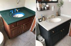 Bathroom Vanity Makeover, Bathroom Vanity Tops, Painting Bathroom Vanities, Simple Bathroom Makeover, Paint Vanity, Easy Bathroom Updates, Bathroom Vanity Decor, Bathroom Makeovers, Bathroom Renos