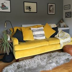 This bright velvet is called Omega Canary from Linwoods. It transforms Multiyork's Long Island sofa into a statement piece, as well as an attractive spot to cuddle up on!