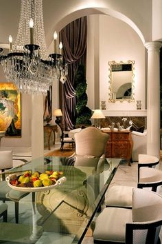 Traditional Dining Room With Columns, Ethan Allen Adrian Side Chair, High  Ceiling, Simple