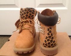 These timberland boots are a must have for this season. Order them before the fall and winter rush. The shoes are designed with spikes and a leopard print tongue.