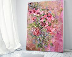 Large Art Big Painting Large Poster Flowers Oil Painting Peonies Roses Lilac Ginger Red Blue Turquoise Cipria Art Cottage Home Wall Print Ha Oil Painting Flowers, Large Painting, Texture Painting, Oil Painting On Canvas, Canvas Art, Grey Art, Blue Art, Cherry Blossom Wallpaper, Beautiful Red Roses