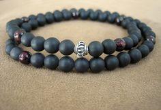 Mens Black Stone, Garnet & Silver Prayer Beads by Merkaba Warrior