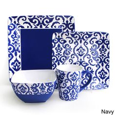 Add elegance to your table with this set of dinnerware from American Atelier. These plates, bowls and mugs offer service for four in a 16-Piece set of earthenware.