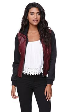 Fleece Sleeve Faux Leather Jacket