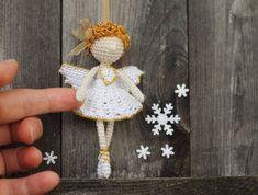 Crochet Angel, Christmas Angel, Fairy Elf, Crocheted Ballerina, Dancer, Christmas ornament, Christmas decoration, white, gold, beige
