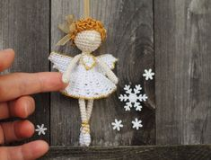 Crochet Angel, Christmas Angel, Fairy Elf, Crocheted Ballerina, Dancer, Christmas ornament, Christmas decoration, white, gold, beige