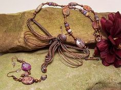 Copper Wire Wrapped Dragonfly with beaded necklace. Nicole Hanna Design This pendant measures 105mm x 75mm.