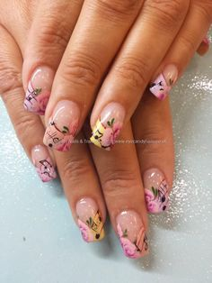 Music notes and one stroke flower nail art