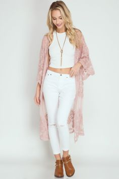 Preorder - Lace Duster Kimono - Pink Rose