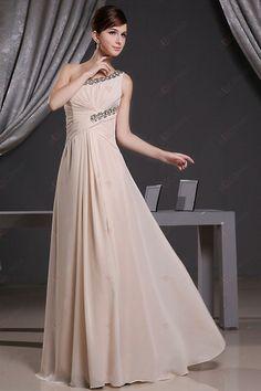 A-ligne une épaule-parole longueur Champagne en mousseline Robes de bal perlée