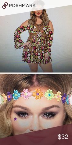 BRAND NEW plus size Halloween costume Hippie dress. Never worn. Size 3x-4x. I tried it on and I'm a 14/16 and it fit perfectly. Not using it, just bought it last week. Comes with the headband in the original packaging! 100% polyester. Dresses