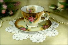 Pretty Brown Porcelain Mini Pink Rose Teacup and Saucer set by Shafford of Japan