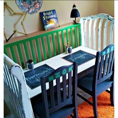 Instead of selling old cribs reuse them into desks to play on..smart!