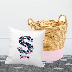 Floral Initial Square Personalised Cushion