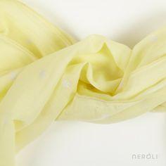 Fular amarillo estampado (unisex) de Búho. #boy #girl #accesory #NeroliByNagore #SS14 #Buhobcn