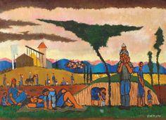 Yochanan Simon - Evening in the Kibbutz, Oil on canvas, 60X81 cm.